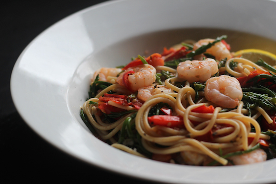King prawn samphire chilli spaghetti