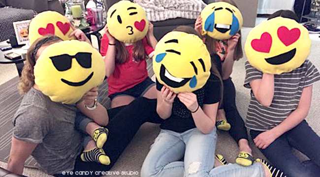 emoji sleepover, emoji pillows, handmade emoji pillows, custom emoji pillows