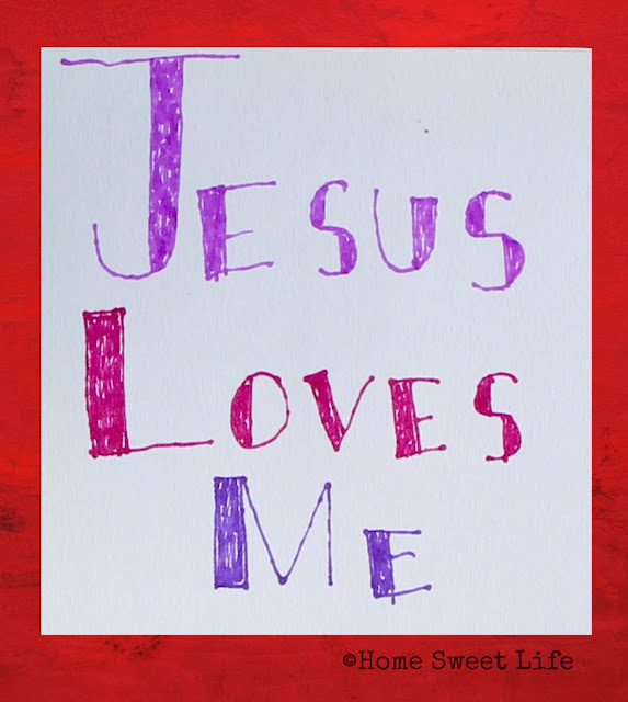 hand lettered songs, Jesus loves me