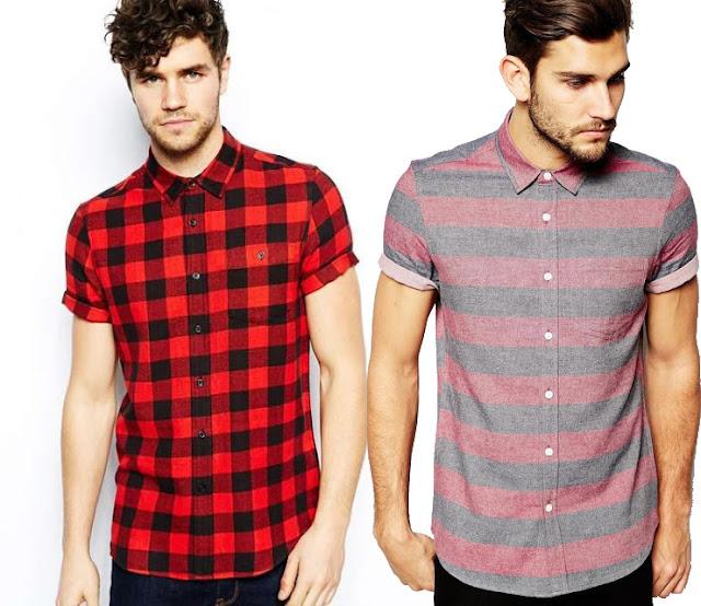Camisa estampada com manga curta, camisa xadrez com manga curta (1)