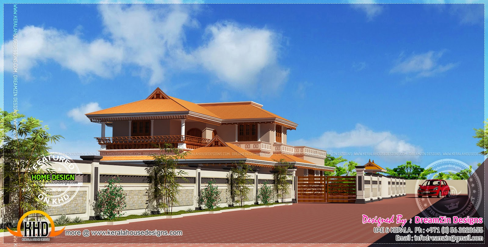 House with compound wall design | Home Kerala Plans