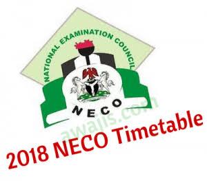NECO 2018 TIMETABLE: