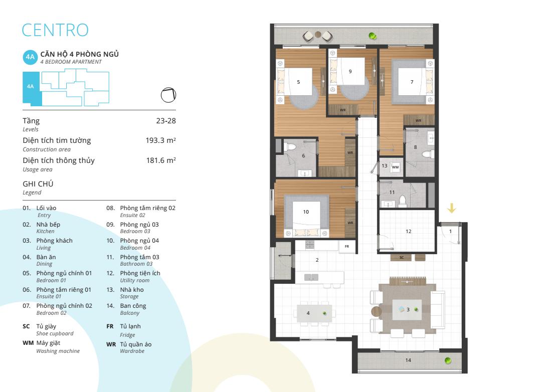 Thiết kế điển hình căn hộ 04 phòng ngủ