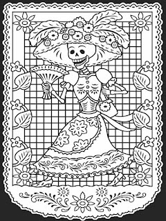 Papel picado del dia de muertos para colorear - mandala para colorear