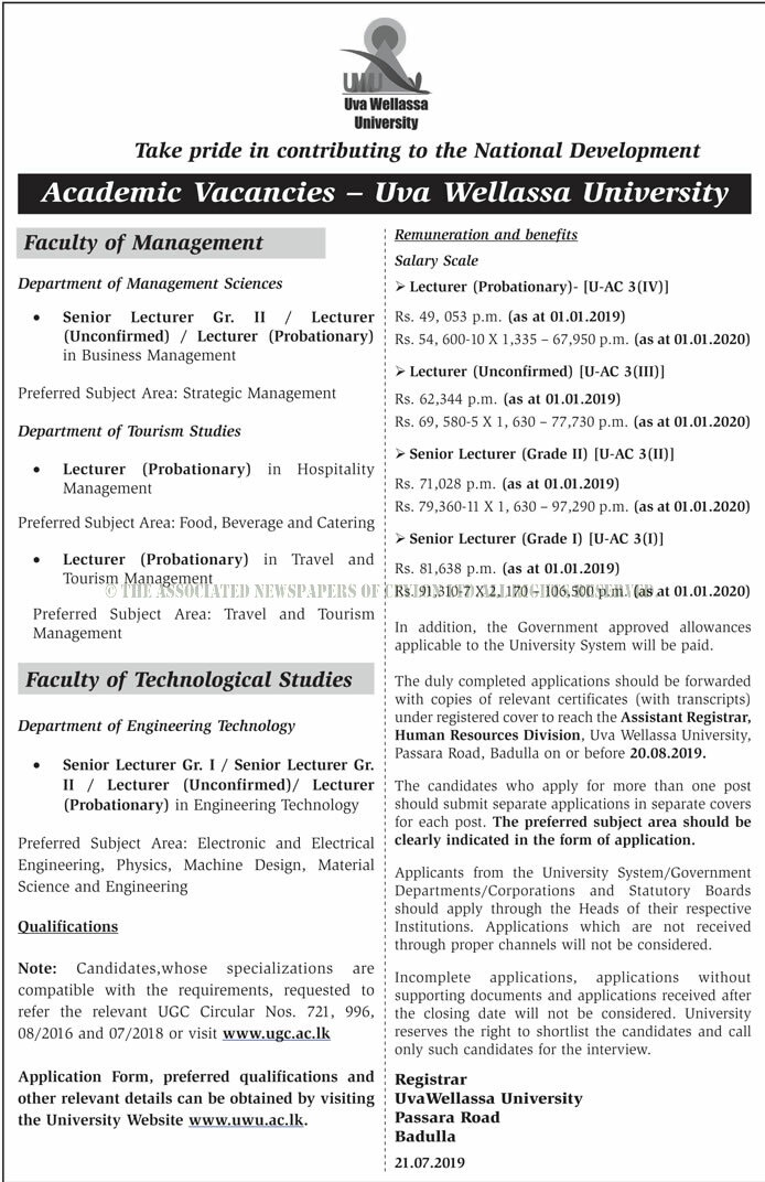 Vacancies at Uva Wellassa University