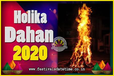 2020 Holika Dahan Puja Date & Time, 2020 Holika Dahan Calendar