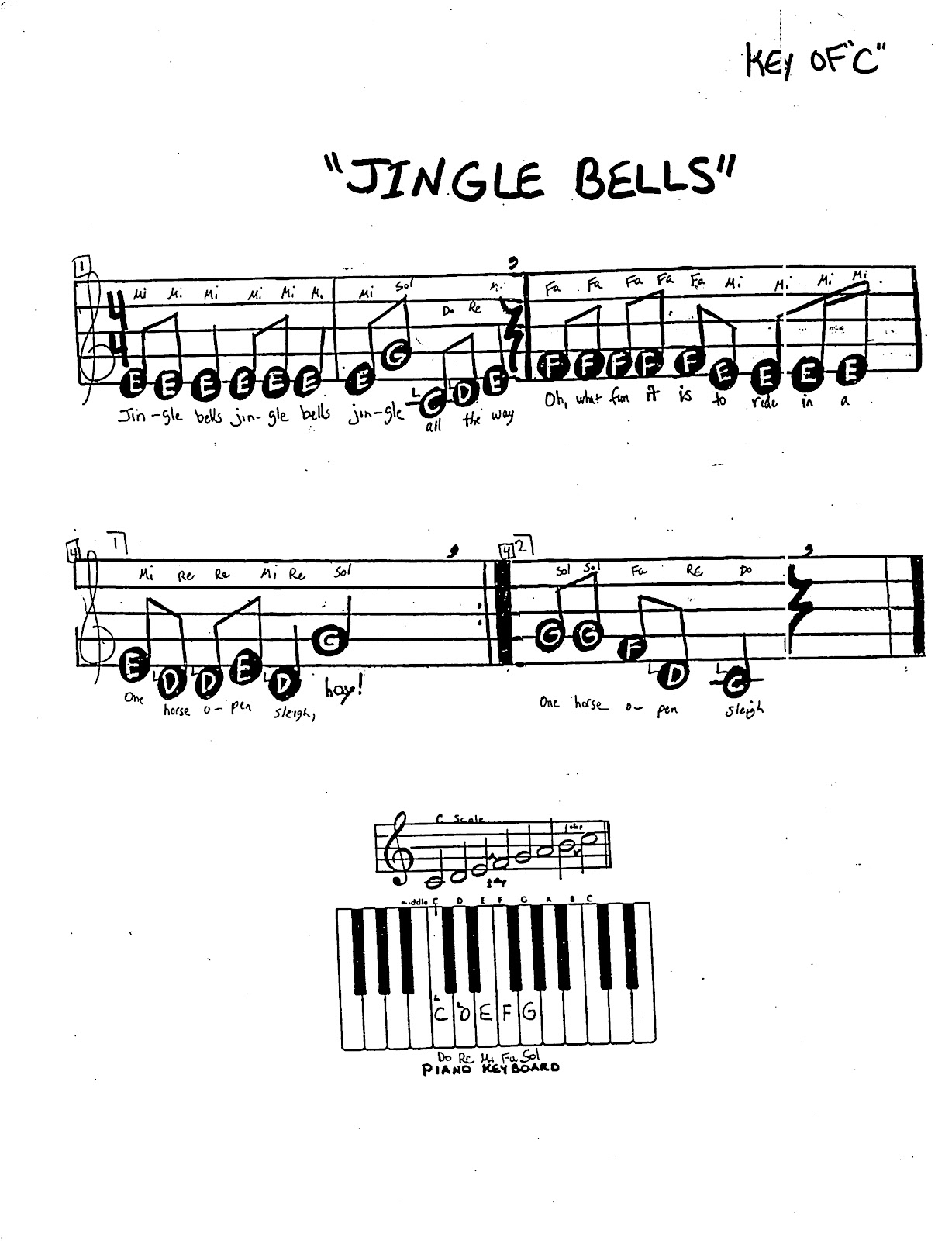 Jingle bells letter notes miss jacobsons music recorder holiday   also sivanewpulse rh