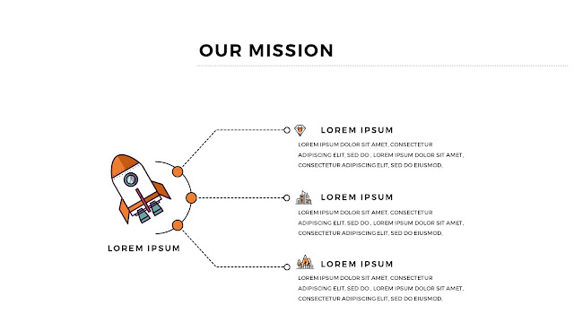 Free Infographic PowerPoint Template for Our Mission Presentation with Rocket and 3 Number Options
