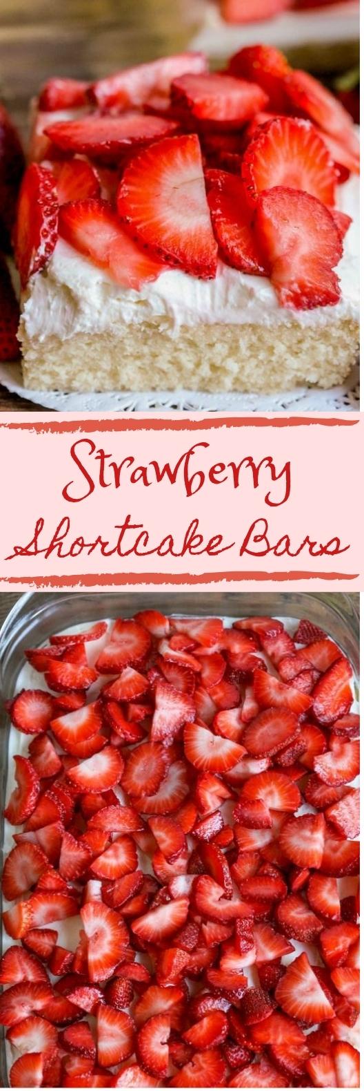 Strawberry Shortcake Bars #dessert #snacks