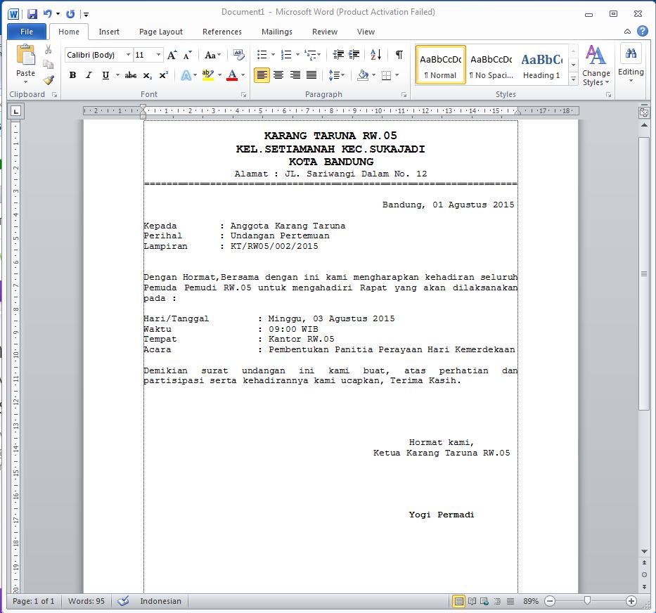Contoh Surat Undangan Karang Taruna docx