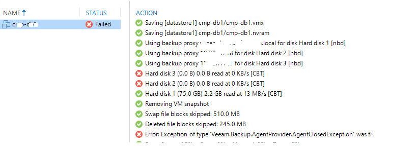 Keep Learn   : Exception of type 'Veeam Backup AgentProvider