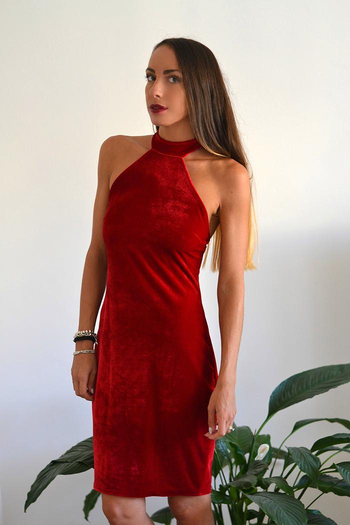 abito velluto rosso