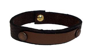 Bracelet bicolore en cuir marron fermé