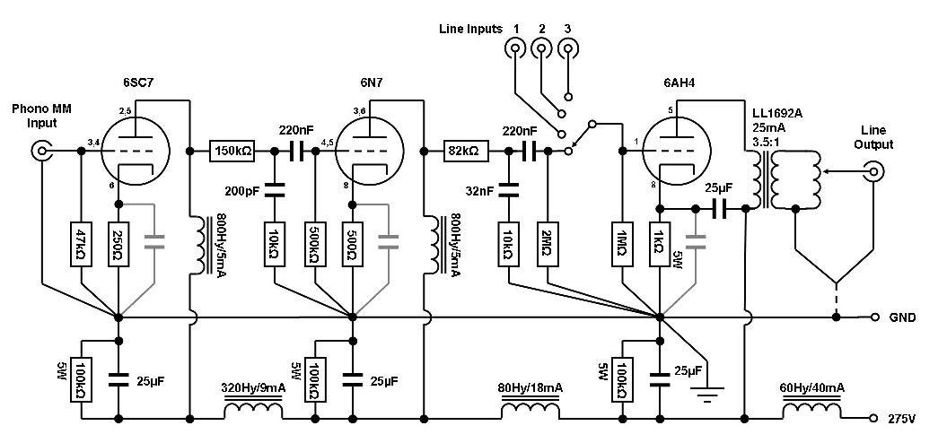 VinylSavor: The Octal Preamplifier Mk2: Circuit