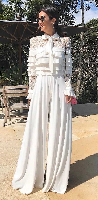 pwrfwct white outfit idea: blouse + pants