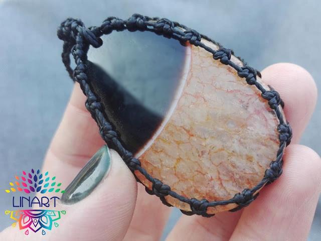 Naszyjnik z agatem czarno-brązowym