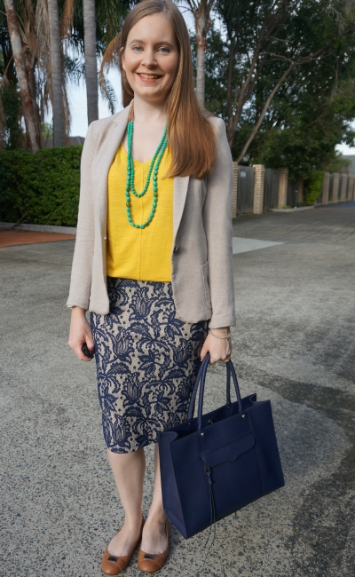 colourful summer officewear yellow tank, green nackle, blue lace pencil skirt | away from blue