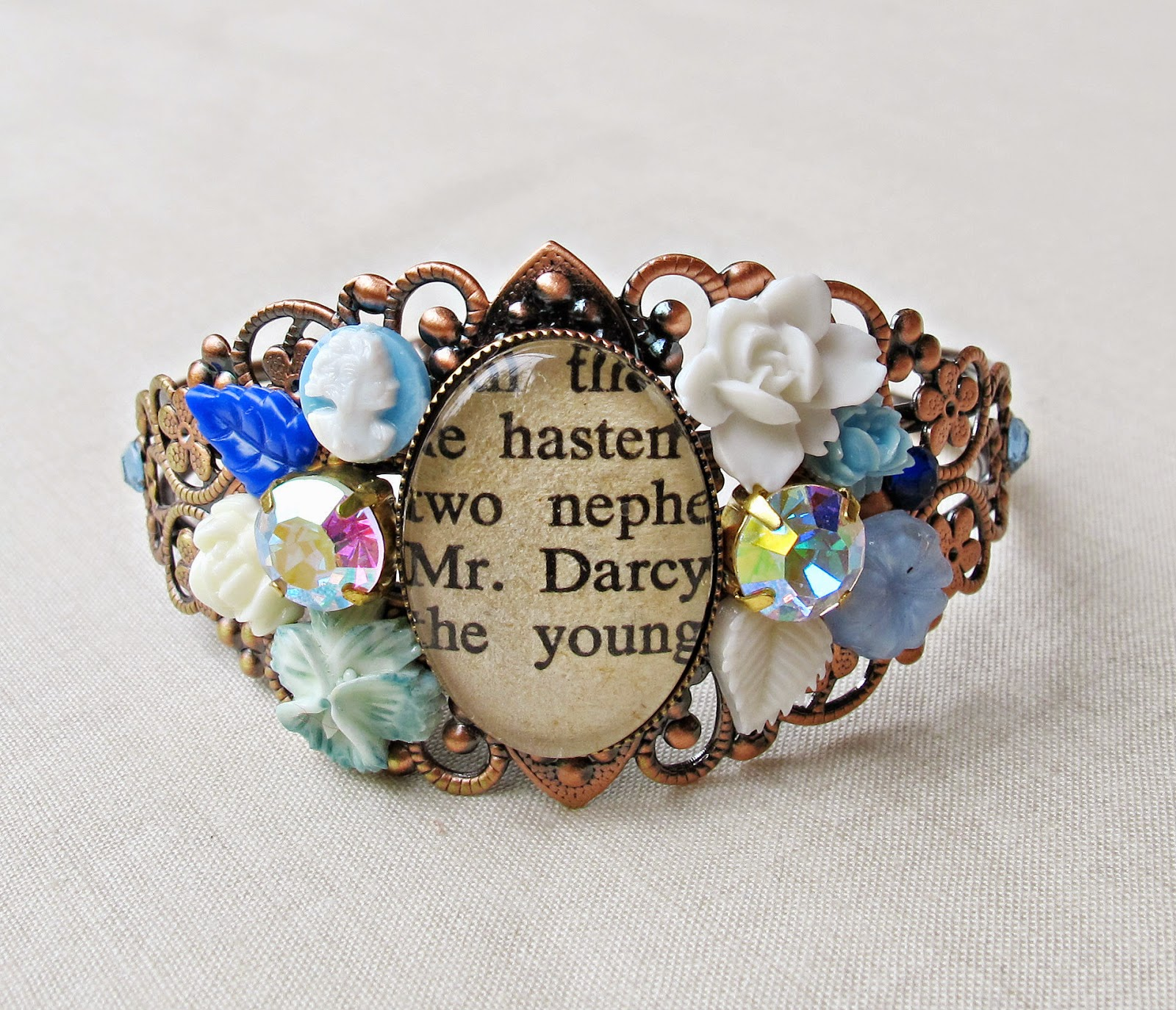 image mr darcy cuff bangle pride and prejudice jane austen two cheeky monkeys white blue sky ombre rhinestone flowers copper