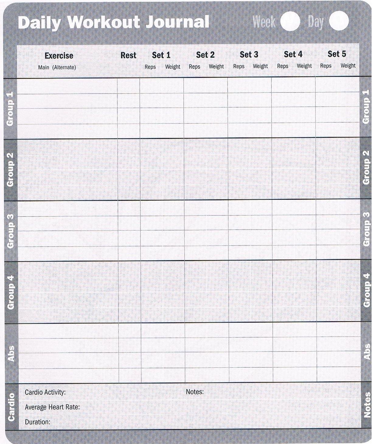 Workout Database Free Printable Workout Log