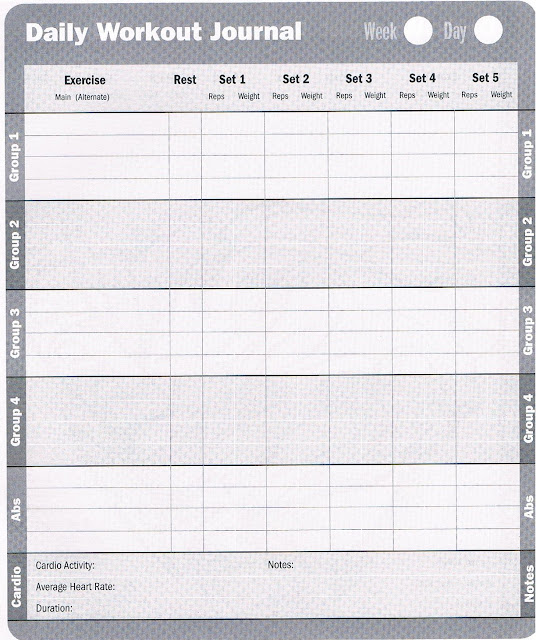 Workout database free printable workout log for Fitness journal template printable