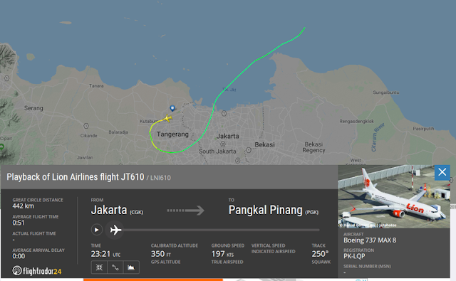 Kenapa Lion Air JT 610 ke Arah Karawang? Ini Penjelasan AirNav