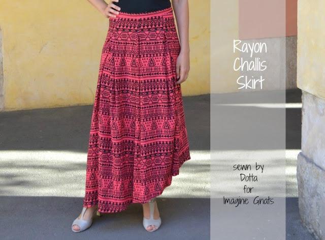 Aztec rayon challis skirt