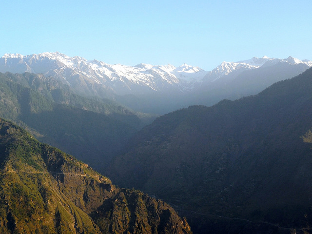 Shrikhand Mahadev range bathed in sunlight