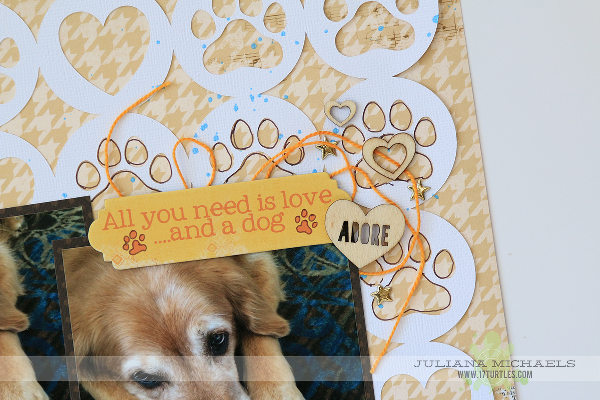 Memories Dog Scrapbook Page by Juliana Michaels featuring 17turtles Digital Cut File Paw Prints & Hearts and BoBunny Happy Tails