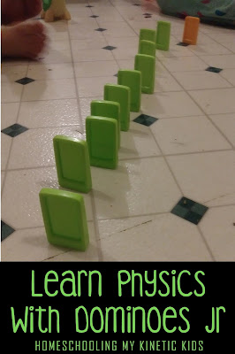 Learn Physics with Dominoes // Homeschooling My Kinetic Kids // STEM // science // physics // laws of motion // chain reactions
