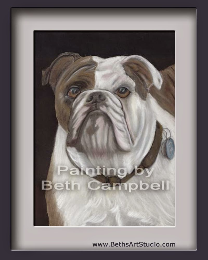 bulldog, tought, painting, pastel