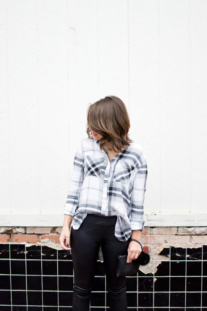 fall edgy night out outfit, autumn outfit ideas, leather leggings, bp plaid shirt, black wristlet