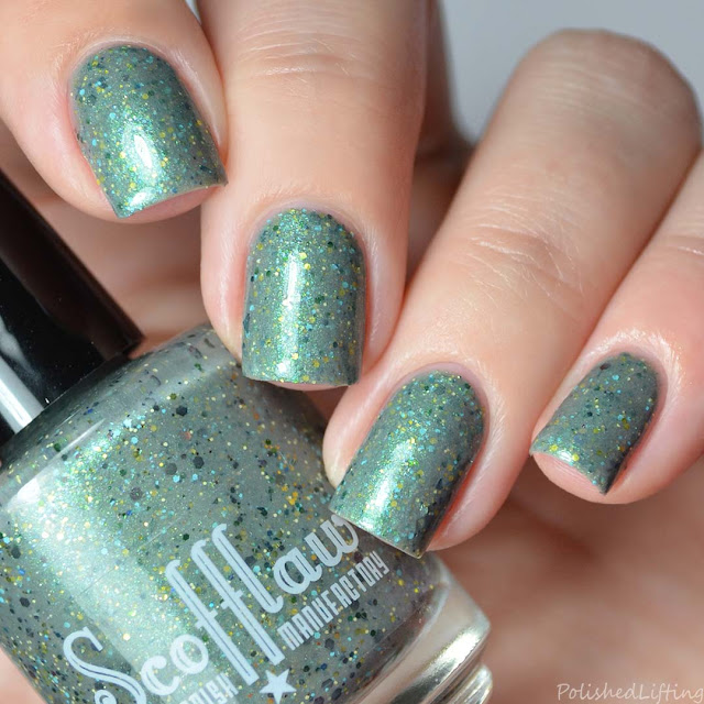 gray nail polish with glitter