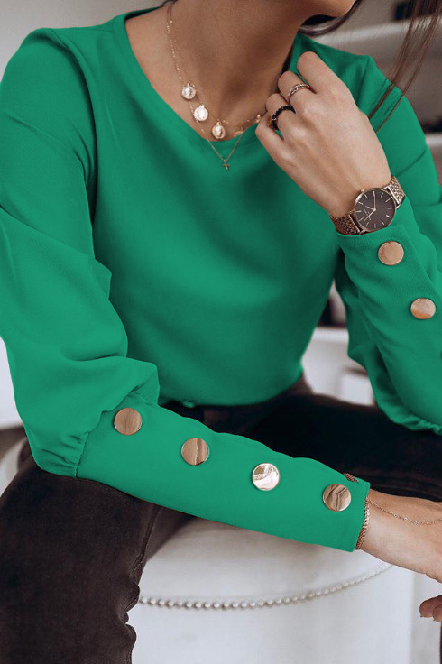 Bluza femei verde smarald eleganta cu nasturi aurii din barbie