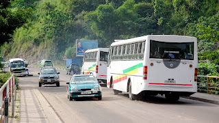 Brazzaville busses in white, green and yellow