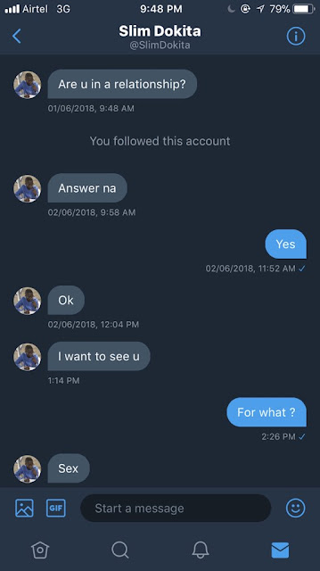 """Nigerian lady exposes unfortunate """"Ijebu"""" Gynaecologist"""" who slid into her DM to ask for sex"""
