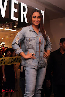 Actress Sonakshi Sinha Pos in Denim Jeans at Forever 21 Shop Launch at Express Avenue Mall  0001.jpg