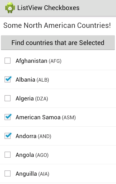 Programmers Sample Guide: Android ListView Checkbox Example