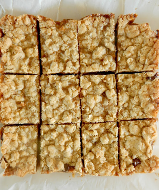 Oatmeal Caramelita Bars...chewy, creamy, salty, perfection!  The ideal dessert bar for bake sales, famity gatherings or any event! (sweetandsavoryfood.com)
