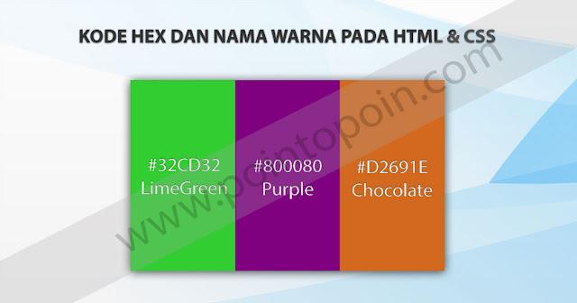Kode HEX dan Nama Warna Pada HTML dan CSS
