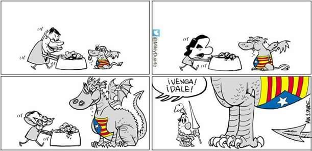 Venga, dale, Mariano Rajoy, dragón, Cataluña, polìticos, alimentando el dragón, Felipe, Aznar, Zapatero,