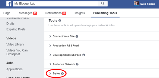 Stylize your instant articles template