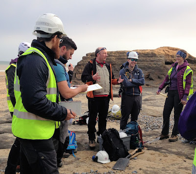 Dr Jon Lee helping us interpret the geology at Happisburgh, Norfolk
