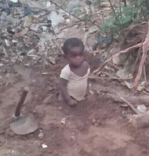 Little Kid Half-Buried Alive In Benue For Not Walking Timely; See Photos
