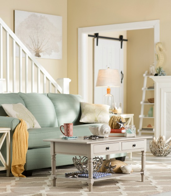 Sea Green U0026 Yellow Beach Cottage Living Room | Catalog Bliss