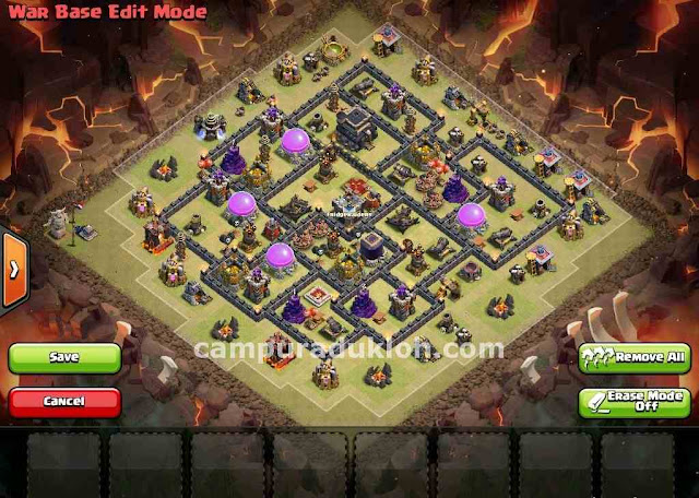 Triton TH9 Base Clan War Baru Anti 3 Stars Clash Of Clans