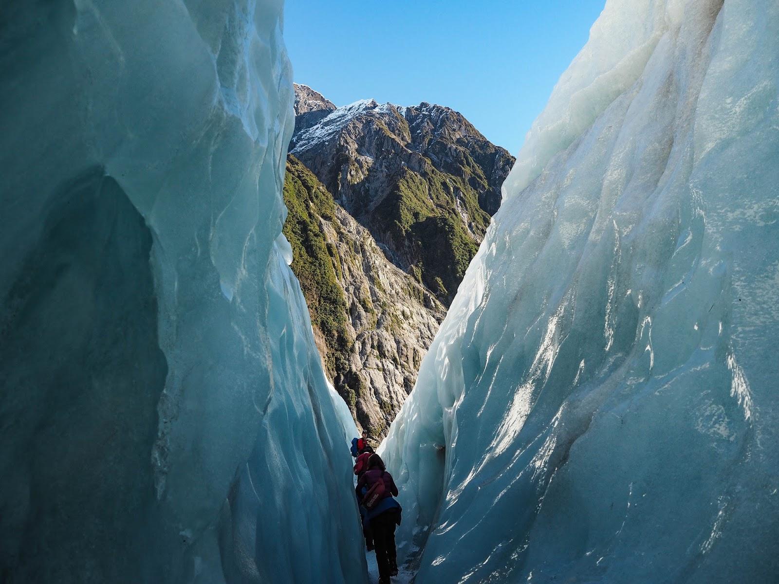 Inside a crevasse on Franz Josef glacier