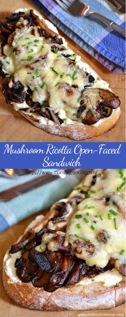 Mushroom Ricotta Open-Faced Sandwich #vegan #recipevegetarian