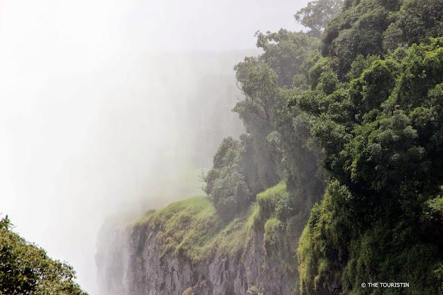 Dense spray of a waterfall.