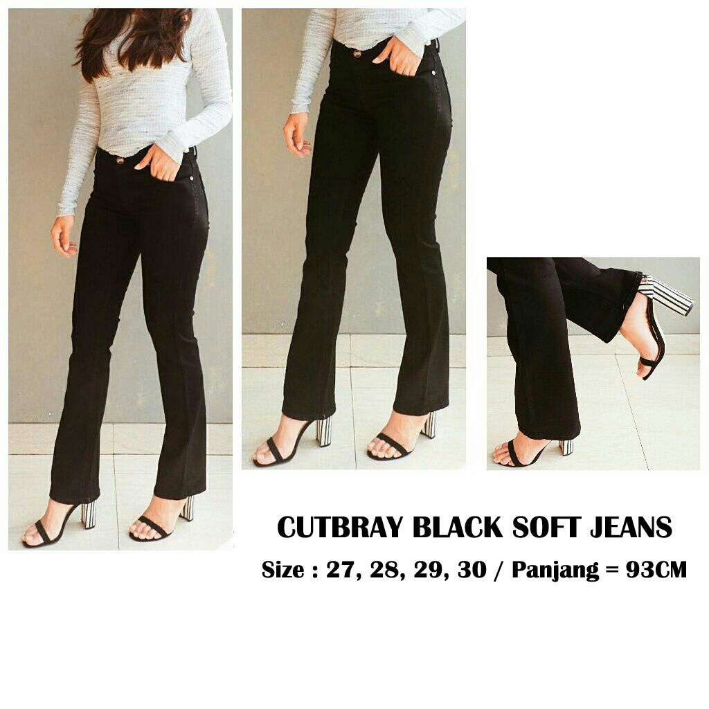 Cutbray black soft jeans