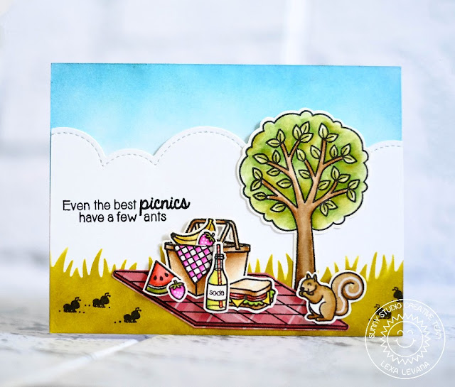 Sunny Studio Stamps: A Summer Picnic Watercolor Card by Lexa Levana.